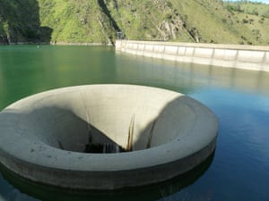 The 'Glory Hole' at Lake Berryessa normally stands above the waterline.