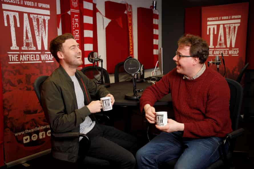 Craig Hannon (left), head of marketing and Neil Atkinson, the host of the Anfield Wrap podcast, in the audio recording studio of their office in the Waterfront area.