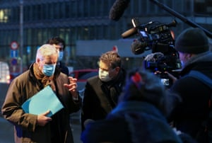 Michel Barnier speaks to the media as he leaves the European commission headquarters in Brussels, Belgium