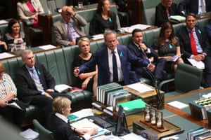 Bill Shorten speaks to his suspension motion during question time.