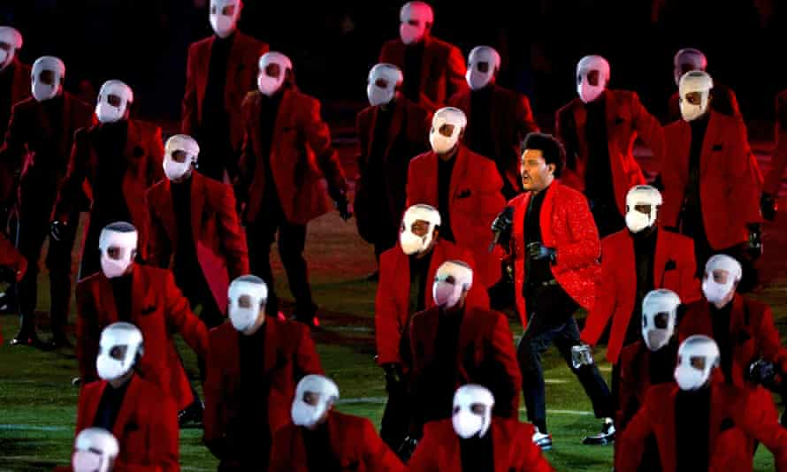 The Weeknd performs during the Super Bowl half-time show