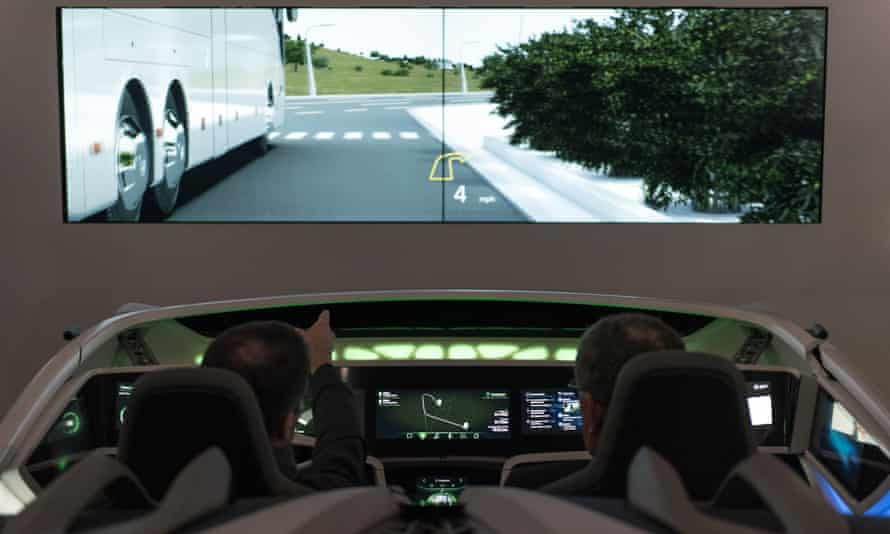 A concept demonstration for the inclusion of artificial intelligence in cars at the Bosch booth in Las Vegas.