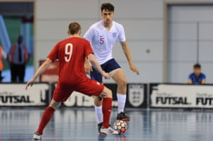 Max Kilman in action for England's futsal team against Poland in a friendly at St George's Park earlier this year.