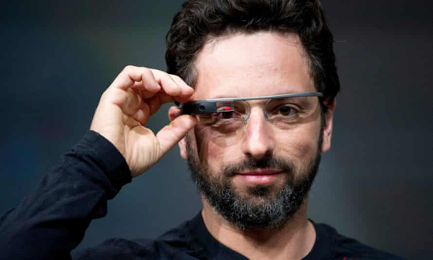 Sergey Brin, co-founder of Google, with his Google Glass.