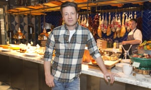 Jamie Oliver launching his Jamie's Italian restaurant at Tower Bridge, London, in 2015.