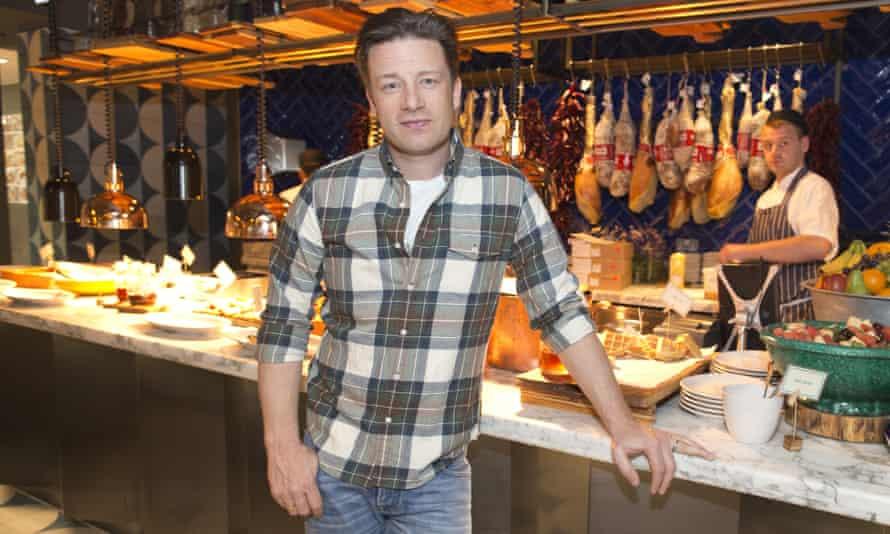 Jamie Oliver launching his Jamie's Italian restaurant at Tower Bridge, London, in 2015.