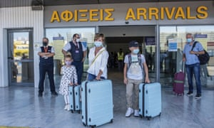 Tourists from Hamburg arriving at Heraklion airport in Crete last Wednesday. It was the airport's first international arrival since the pandemic hit.