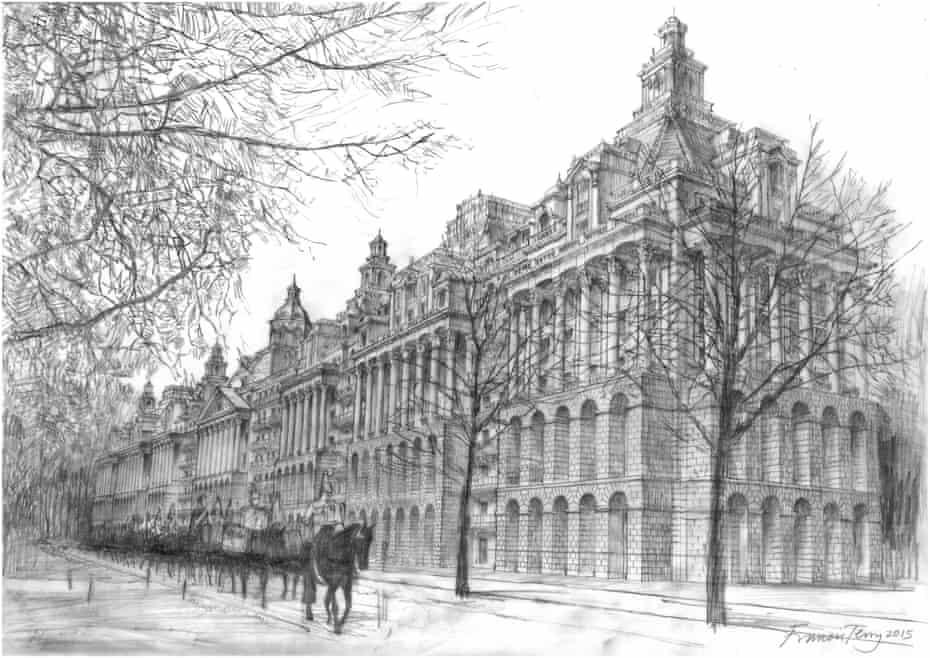 Knightsbridge Barracks, a proposal drawing by Francis Terry.