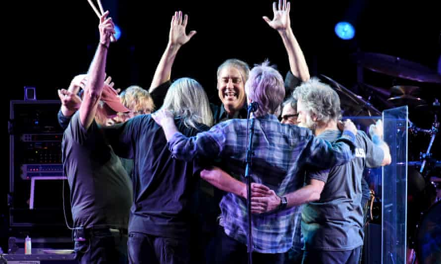 Bruce Hornsby, centre, with members of the Grateful Dead