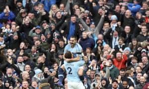 Gundogan celebrates after scoring City's fourth.