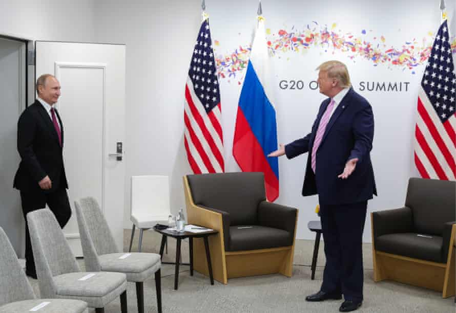 Donald Trump with Vladimir Putin at the G20 summit in Osaka in June this year. Trump voiced concern over the 2018 capture but did not blame Moscow.