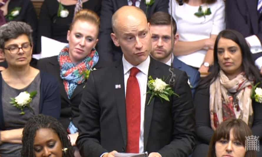 Stephen Kinnock with fellow Labour MPs in the House of Commons.