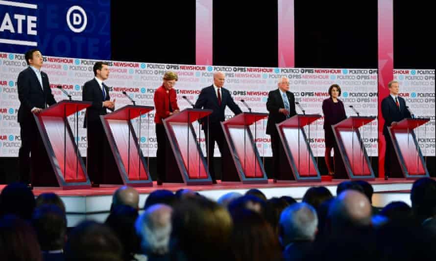 Andrew Yang, Pete Buttigieg, Elizabeth Warren, Joe Biden, Bernie Sanders, Amy Klobuchar and Tom Steyer participate in the debate on Thursday.