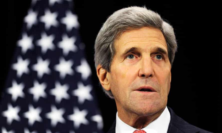 US secretary of state John Kerry gives a statement after a round table meeting in Brussels.