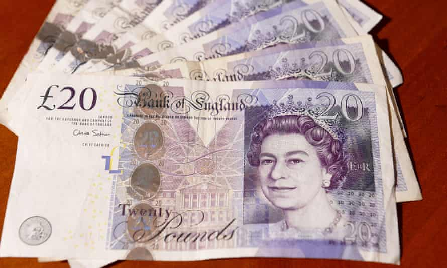 A pile of £20 notes