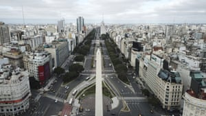 Buenos Aires, Argentina The 9 de Julio boulevard is almost devoid of traffic during the return to a strict lockdown in Buenos Aires after coronavirus cases spiked
