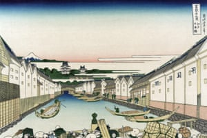 An ukiyo-e print from c 1830 showing boats on a canal. The perspective is from Nihonbashi bridge.