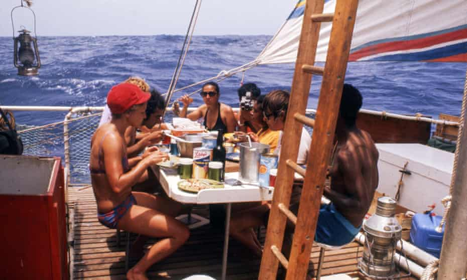Participants aboard the Acali as part of a 1973 experiment.