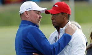 Thomas Bjørn consoles Tiger Woods after the American lost his singles match with Jon Rahm to end the 2018 Ryder Cup with no points.
