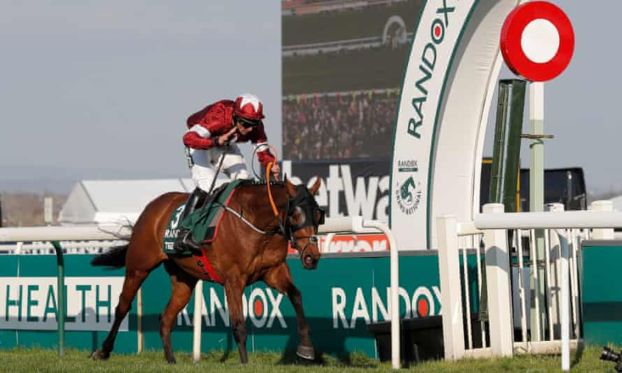 Tiger Roll passes the post for his second consecutive victory in the Grand National at Aintree.