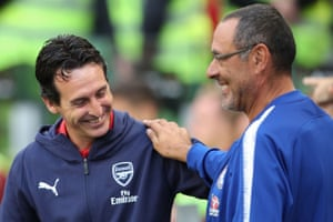 Arsenal Manager Unai Emery and Chelsea counterpart Maurizio Sarri at the start of the season.