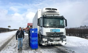 A stranded Greggs lorry