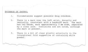 The Cook County autopsy report suggesting Galvan overdosed.