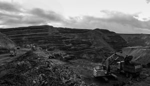 Open cast coal mining on the edge of the South Wales