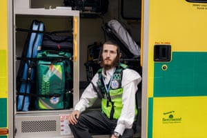 Hatzola technician Dovy Sternlicht sits in one of the ambulances at the end of a day