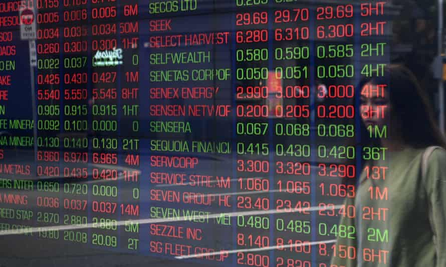 Market boards at the stock exchange in Sydney