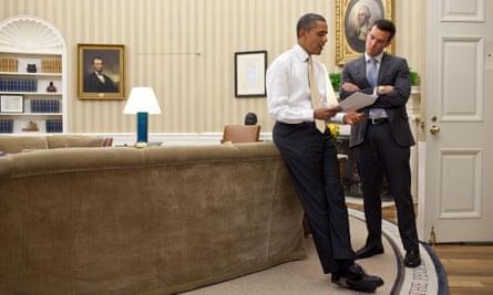 US President Barack Obama goes over his speech with Jon Favreau.