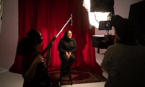 Samiya Dubed being interviewed on the set of Somalinimo