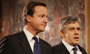 David Cameron, left, and Gordon Brown.