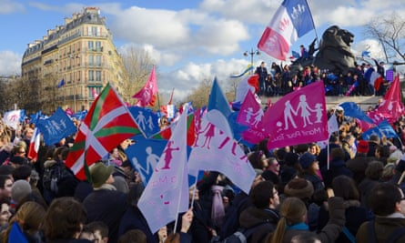 Conservative protesters opposed to same-sex marriage demonstrate against IVF for single women and lesbians in Paris in 2014.