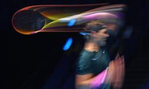 Rafael Nadal returns to Daniil Medvedev.