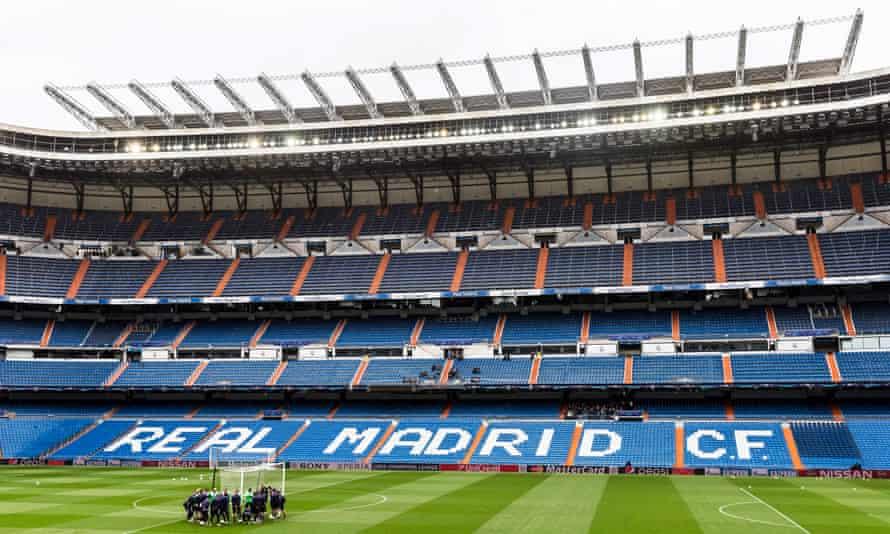 An interior view of Real Madrid's Bernabéu ground