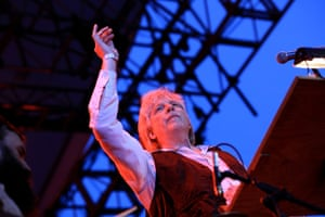 American composer and musician Rhys Chatham, who is conducting 100 guitarists in his piece A Crimson Grail