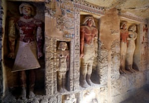 Giza, Egypt: Statues inside the newly discovered tomb of Wahtye
