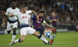 Lionel Messi gives the Spurs defence yet another scare on a victorious night for his Barcelona side at Wembley.