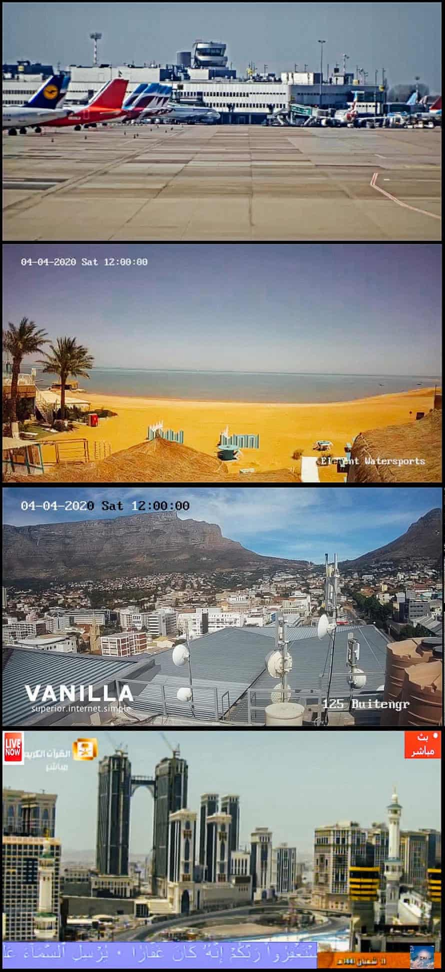Dusseldorf airport, Germany; El-Gouna, Red Sea coast, Egypt; Cape Town, South Africa; Mecca, Saudi Arabia