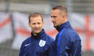 Dan Ashworth, the FA's technical director, with Mark Sampson, who has been sacked as coach of England Women, in July 2017