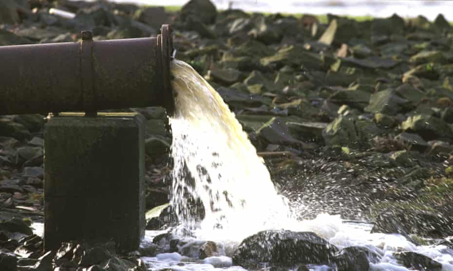 A sewage outfall pipe