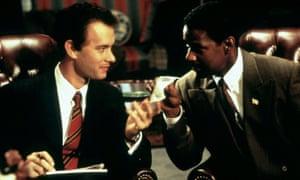 Tom Hanks, left, and Denzel Washington in Philadelphia, 1993, directed by Jonathan Demme.
