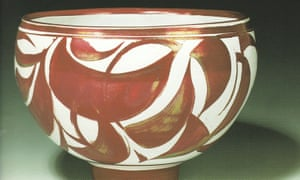 A deep bowl with foot and red lustre, 2001, by Alan Caiger-Smith