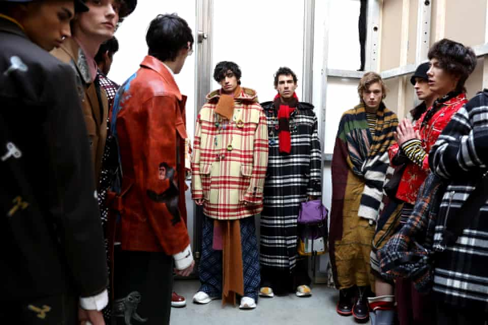 Models are seen backstage ahead of the Marni show during Milan Men's fashion week.