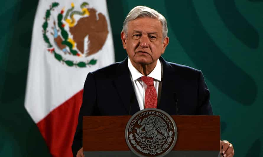 Mexican president Andrés Manuel López Obrador speaks about the results of Sunday's midterm elections at the National Palace in Mexico City on Monday.