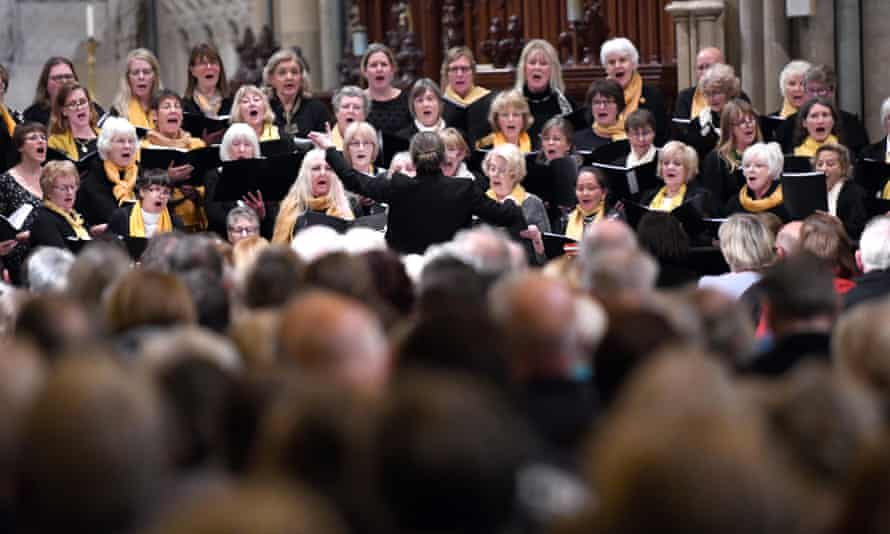 Emma Mansfield conducting the east Cornwall choir.