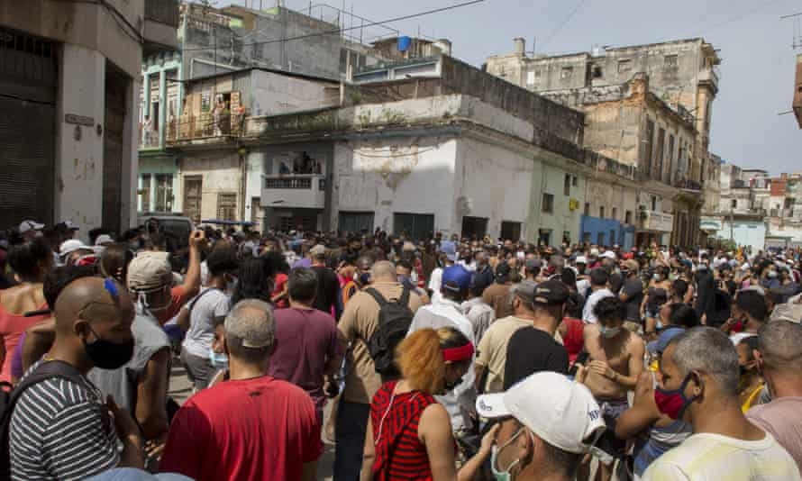 A anti-government protesters march in Havana, Cuba, Sunday, July 11, 2021.