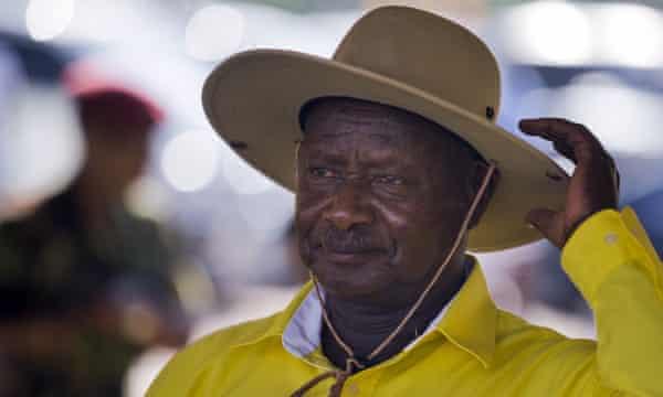 Yoweri Museveni at an election rally at Kololo airstrip in Kampala.