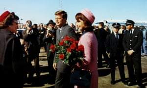John F Kennedy and Jacqueline Bouvier Kennedy arrive at Love Field in Dallas, Texas less than an hour before his assassination on 22 November 1963.